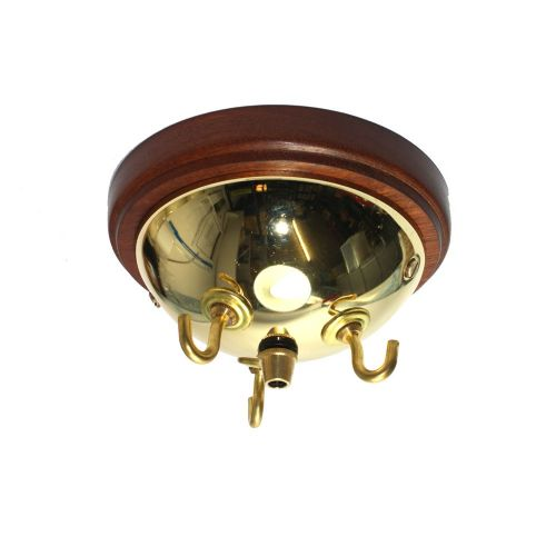 Hardwood Sapele Pattress With 3 Hook Rose Polished Brass Finish 144mm Diameter